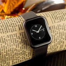 Простой площади набора Любители Кварцевые часы Повседневное модные Сталь ремень Часы Для мужчин Для женщин пару часов Спорт Аналоговый наручные часы