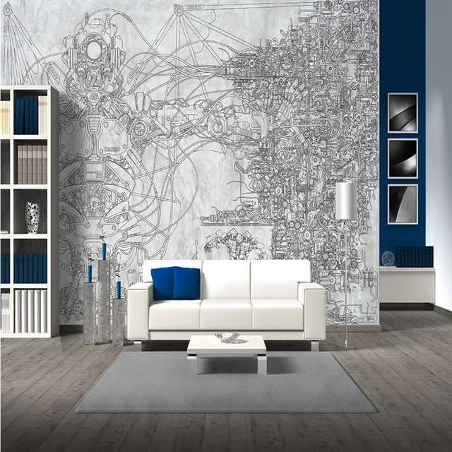 Free Shipping Coffee House Bedroom Bathroom Wallpaper Mural Hand Painted Mechanical Robots Background Wall Decoration Painting