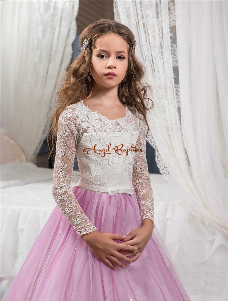 96998bd5a ... Pretty light purple long Flower Girls' Dresses A-line Lace Long Sleeves  kid Communion ...