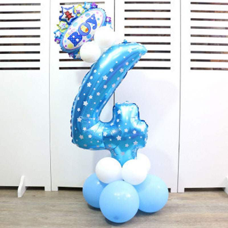 32-дюймовый Цифровой шар детское платье для дня рождения с рисунком надувной детский День рождения украшения вечерние шляпа воздушный шар для колонны игрушка - Цвет: Blue number 4