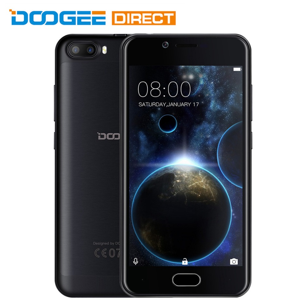 Цена за На складе doogee стрелять 2 5.0 дюймов android 7.0 mtk6580 Quad Core 1 ГБ + 8 ГБ 3 Г Смартфон 5.0MP Две Камеры Заднего Отпечатков Пальцев датчик