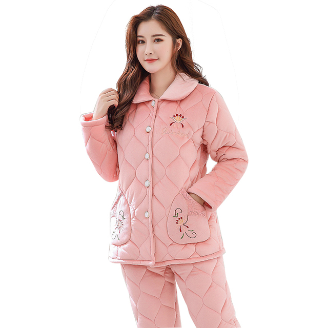 64e41a46aa Three layer thickening winter pajamas women quilted jacket coral velvet quilted  pyjamas thick casual tracksuit plus size M-XXXL