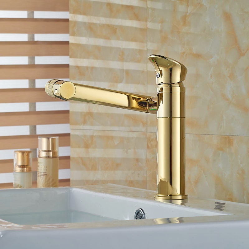 ФОТО Wholesale And Retail Golden Finish Basin Faucet 180 Degree Bathroom Sink Tap Hot&Cold Tap One Hole