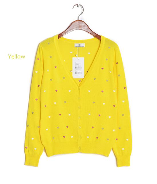 2015 otoño caliente venta de mujeres suéter bordado del corazón mujeres Cardigan manga completo único suéter ocasional aire acondicionado Vestidos