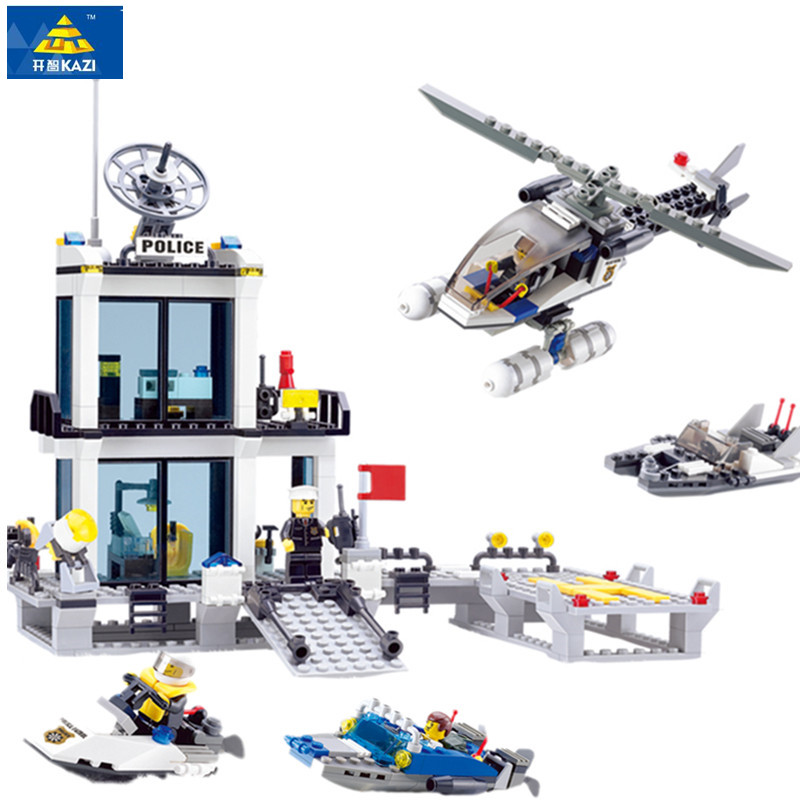KAZI 6726 Police Station Building Blocks Helicopter Boat Model Bricks Toys Compatible All Brand brinquedos Birthday Gift 442pcs police station building blocks bricks educational helicopter toys compatible with legoe city birthday gift toy brinquedos