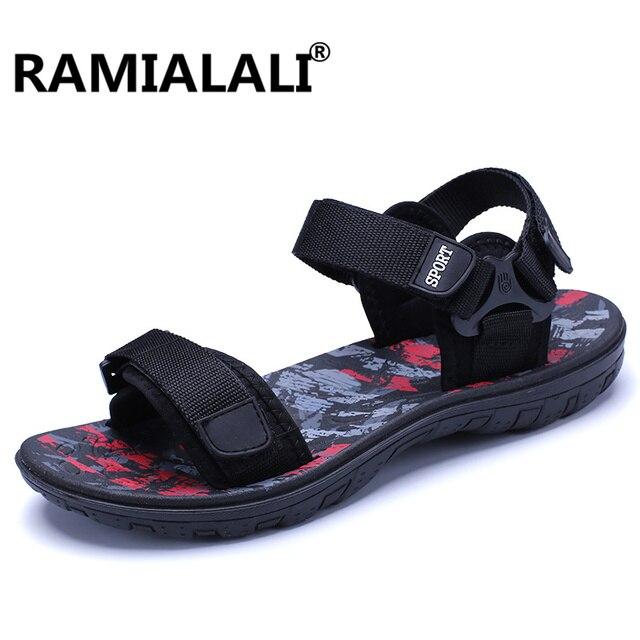 47c8b661d936 Ramialali New Summer Beach Shoes Men Sandals Roma Leisure Breathable Casual  Flip Flops Men Water Shoes Male Gardening Shoe