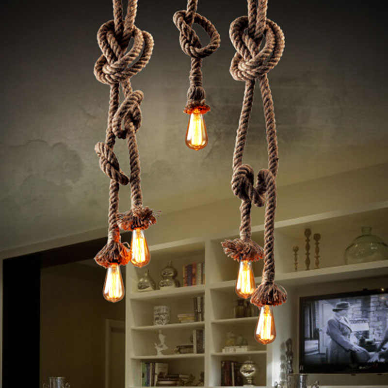 1M Retro Vintage Rope Pendant Light Lamp Loft Creative Personality Industrial Lamp Edison Bulb American Style For Living Room