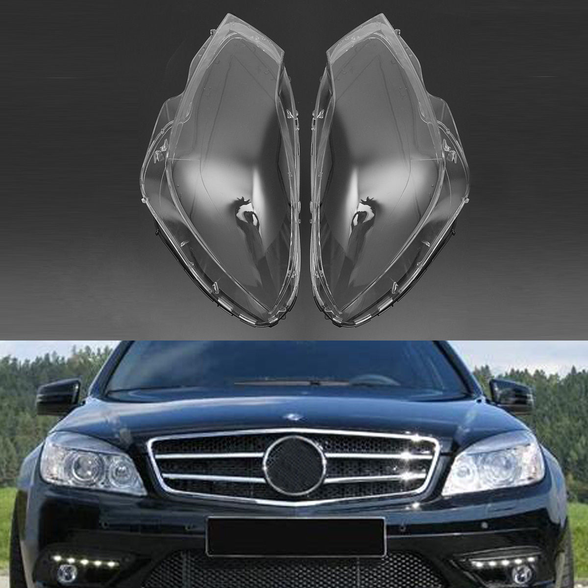 New 1 Pair Left &Right Car Headlight Headlamp Fog Light Clear Lens Light Covers Case for Mercedes C Class W204 2007-2011 mzorange new 1 pair left