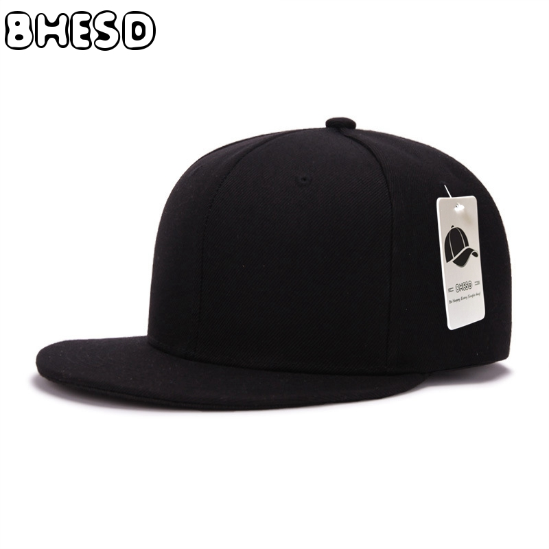 BHESD 2017 Solid Black Flat Baseball Cap Men Women Snapback Hip-hop Hat Children Summer Plain Sport Cap Casquette Gorras JY-048 women snapback cap for men adult casual solid sun hat cotton hip hop plain hat plain washed blank vintage baseball caps