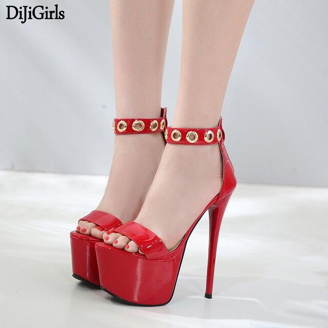 3c0a354c992 US $41.58 |Women High Heel Sandals Summer Red Bridal Shoes 16cm Stiletto  High Heels Size 34 40 Women Gladiator Platform Sandals-in High Heels from  ...