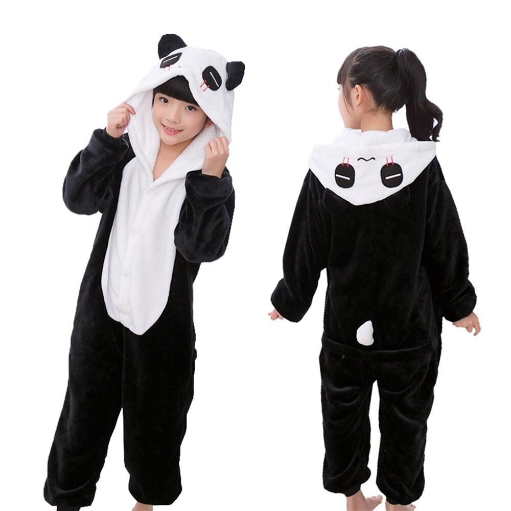 Boys Girls Panda Pajamas Children Kigurumi Flannel Pyjama Kids Cartoon Onesie Sleepwear Cosplay Clothes For 4 6 8 10 12 Years