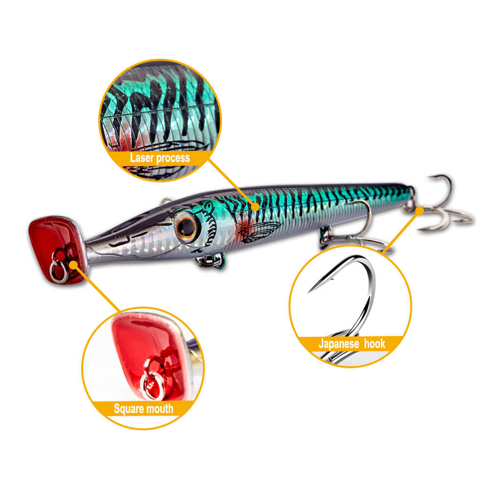 Hunthouse new popper lures 150mm 20g Garfish 150 long cast pencil baits floating for bass garfish topwater bluefish