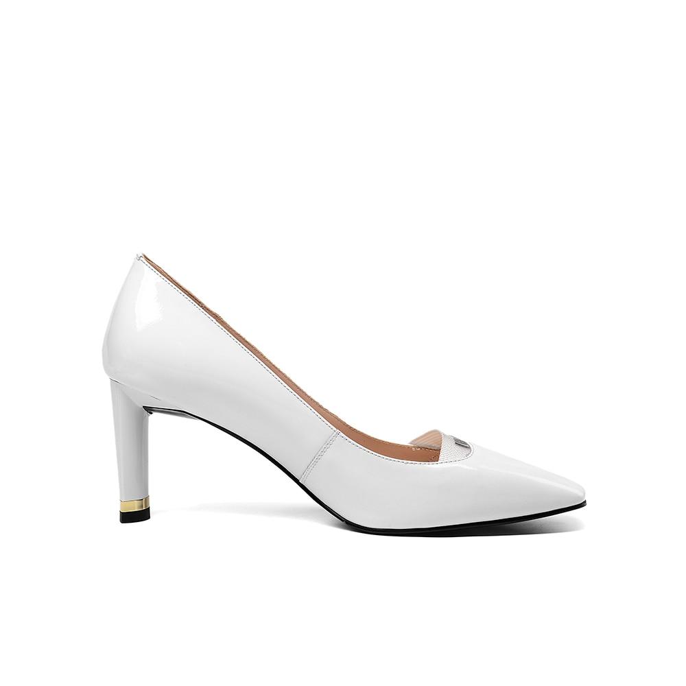 Punta Vestido Blanco Black Señoras Madura Bombas Mujer Alto white Zapatos Tacón Leepo Oficina De Cuero Finos Negro Genuino Las Tacones w6PBaUqR