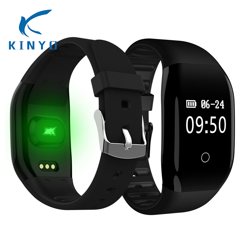 Kinyo 2018 wristband 24 Hours Heart Rate smart bracelet fitness tracker 0.66 inch big screen smart band male pk xiomi mi band 3 2018 heart rate smart band smart bracelet waterproof activity wristband high capacity low power usb charging pk xiomi mi band 3