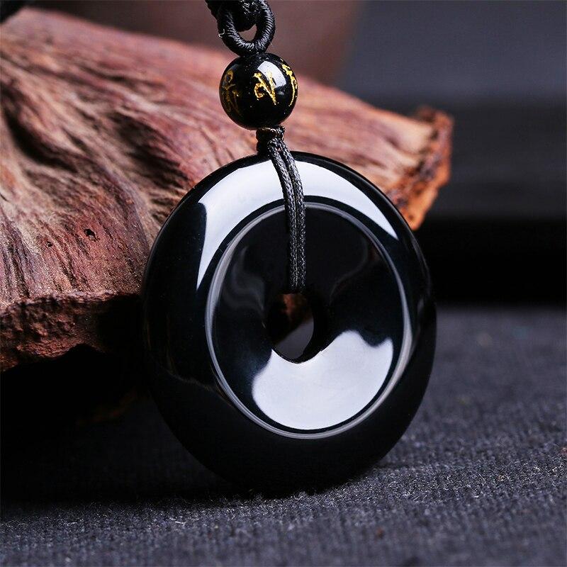 Прямая доставка 100% натуральный черный обсидиан кулон черный безопасной пряжкой кулон повезло кулон нефриты ювелирные изделия