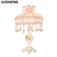 JUSHENG American Luxury Fabric Table Lamp for Bedroom as Bedside Lights with Plug in Power Cord