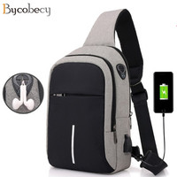BYCOBECY Casual Anti Theft Chest Bag USB Charging Oxford Cloth Waterproof Men Single Shoulder Bag Short