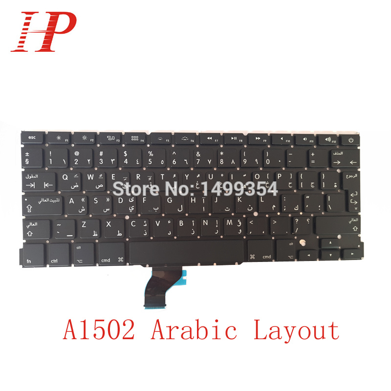 5PCS New A1502 Arabic AR Keyboard For Apple Macbook Pro 13 Retina A1502 Keyboard Arabic Standard 2013 2014 2015