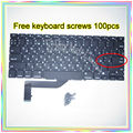 "Brand New Small Enter RS Russian keyboard+100pcs keyboard screws For MacBook Pro Retina 15.4"" A1398 2013-2015 Years"