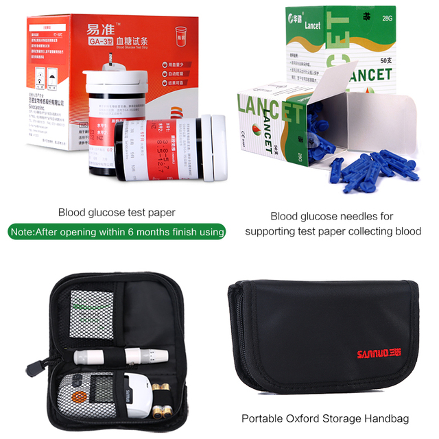 Blood Glucose Meter & Test Strips & Lancets Needles Blood Sugar Detection Monitor Glucometer for Diabetic