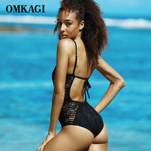 OMKAGI Women Black & White One Piece Swimsuits Handmade Solid Crochet Swimwear Deep V Backless Monokini Swimsuits Bathing Suits