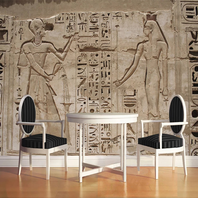 Custom Amy Size Mural Wallpaper 3D Stereo Ancient Egyptian Pyramid Stone Wall Painting European Style Retro Restaurant 3D Fresco
