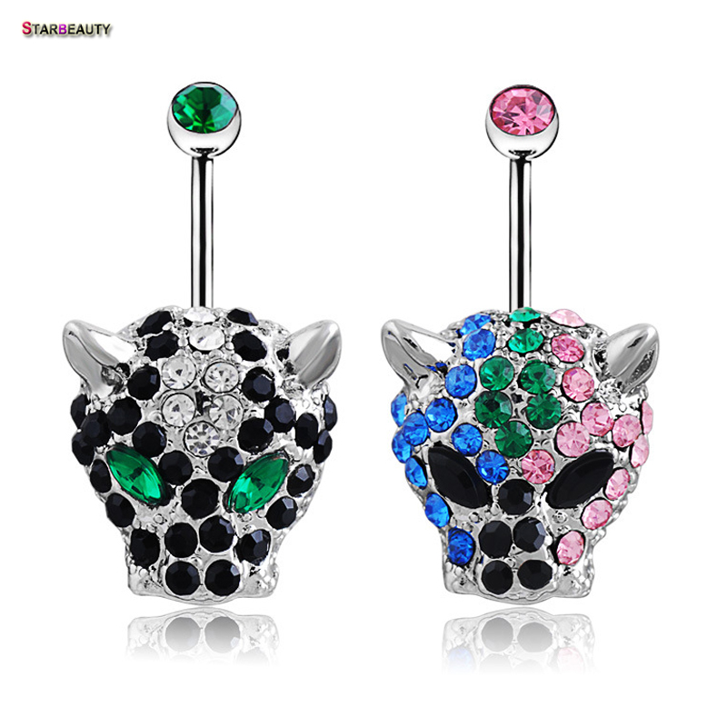 1pc / porositni Shefin e Leopardit, Navel, Piercing Ombligo Women 14G Pircing Belly Crystal Zi, Piercing Nombril Leopard Button Ring Button