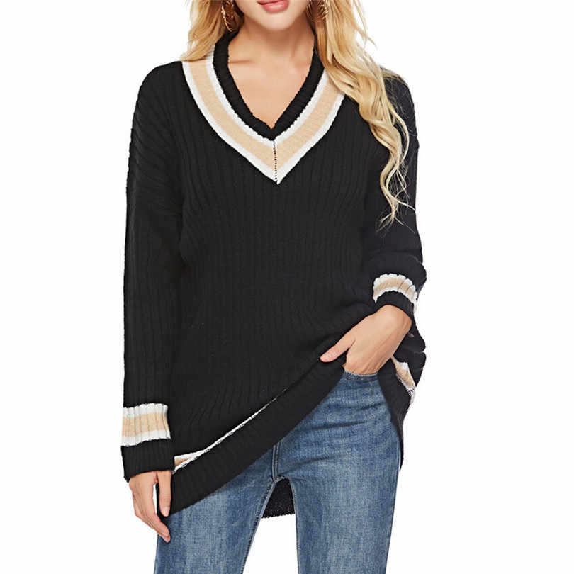 b846d6438bbd7 V Neck Sweater Women Sexy Solid Pullover Long Sleeve Jumper Ladies Casual  Pullover Sueter Mujer Free