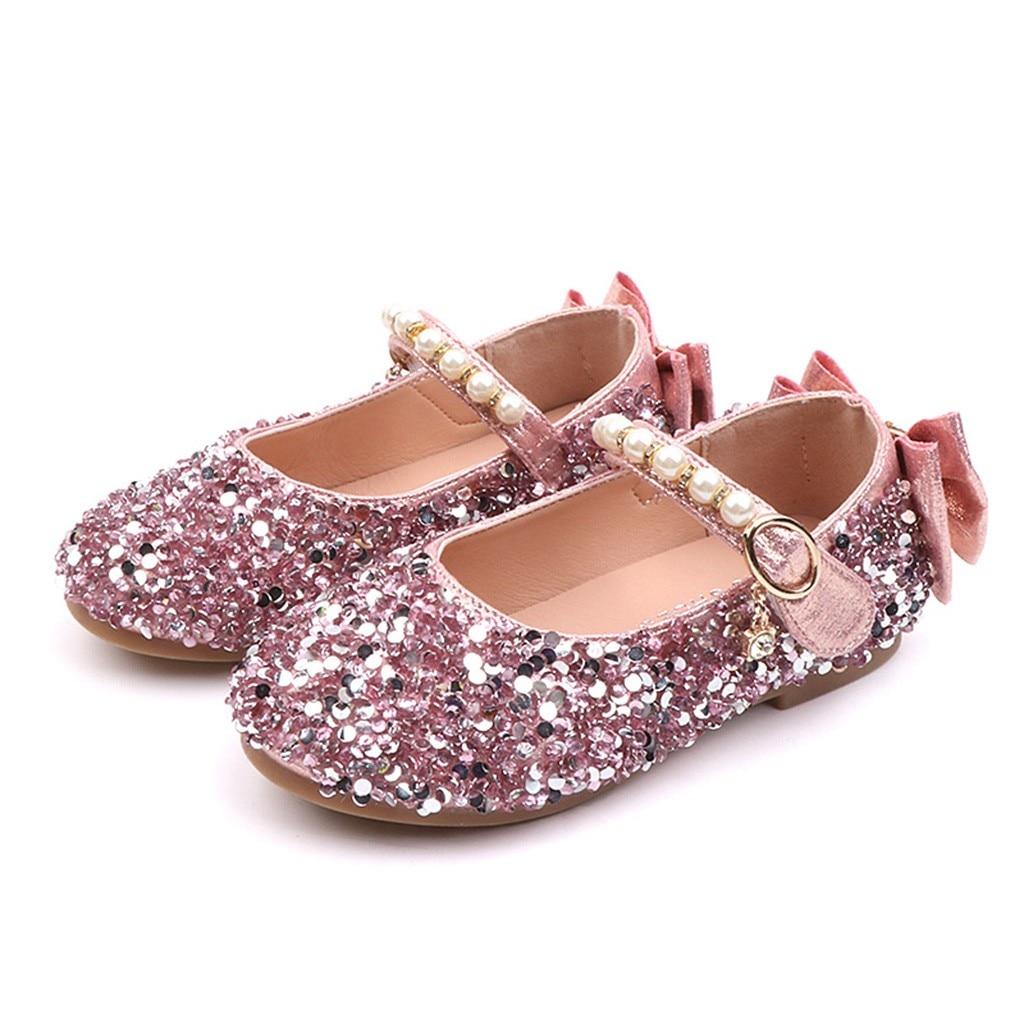 EntrüCkung Telotuny Kinder Kinder Mädchen Prinzessin Kristall Bowknot Bling Partei Schuhe Mädchen Kind Perle Dance Einzigen Casual Flache Schuhe Z0326