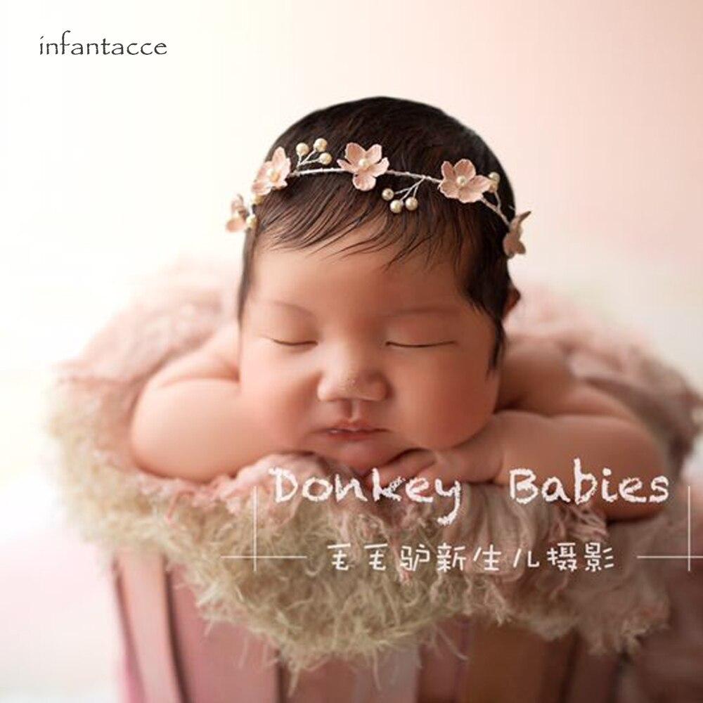Accessoires Child Pink Rose Floral Headband Photography Photo Prop Wedding Baby Newborn Haarschmuck