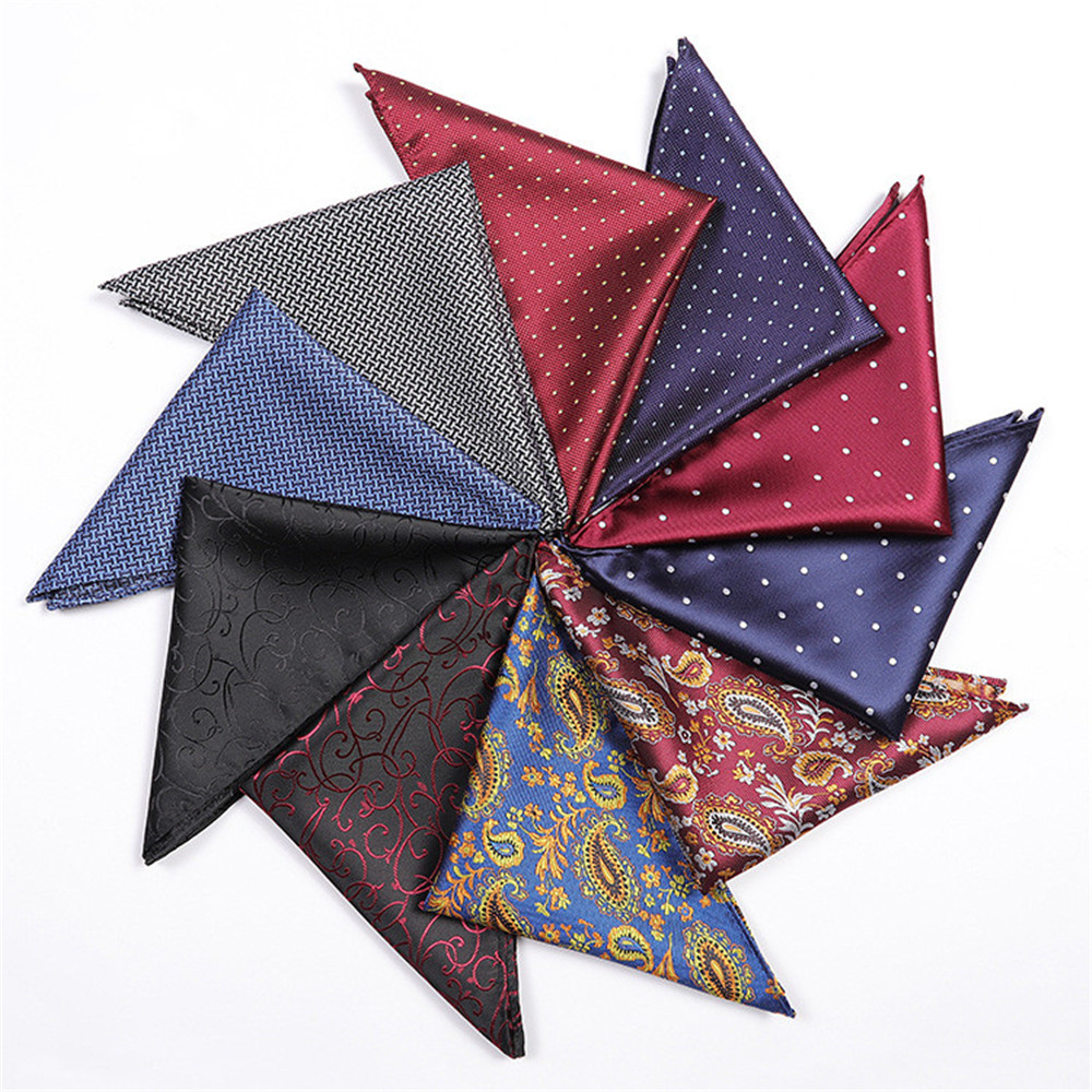 CityRaider Floral Print Pocket Square For Men Silk Handkerchiefs Paisley Pattern Grey Wholesale VIP Link 25*25cm A117