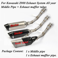Motorcycle Middle Connecting Pipe Exhaust System With Tail Exhaust Tubes Lossless Installation Silp On For Kawasaki