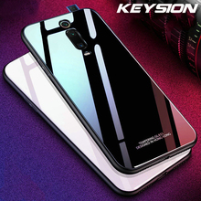 KEYSION for Xiaomi Mi 9T Pro Redmi K20 Note 7 6 Case Glossy Tempered Glass Soft TPU Shockproof Hard Phone Cover for Redmi K20Pro keysion gradient tempered glass case for redmi k20 note 7 pro colorful glass soft tpu edge back cover for xiaomi mi 9t pro f1