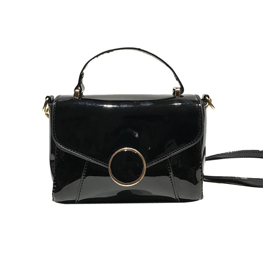Fashion Women Glossy Leather Crossbody Bag Hasp Coin Bag Elegant Ladies Phone Bag Soft Handle Shoulder Bag bolsa feminina S