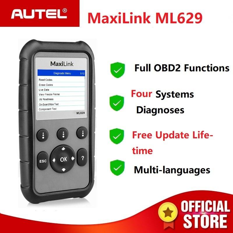 Scanner de Autel MaxiLink ML629 PODE OBD2 ABS SRS AirBag Auto Ferramenta de Verificação de Diagnóstico OBDII Leitor de Código EOBD AutoLink PK AL619 AL319