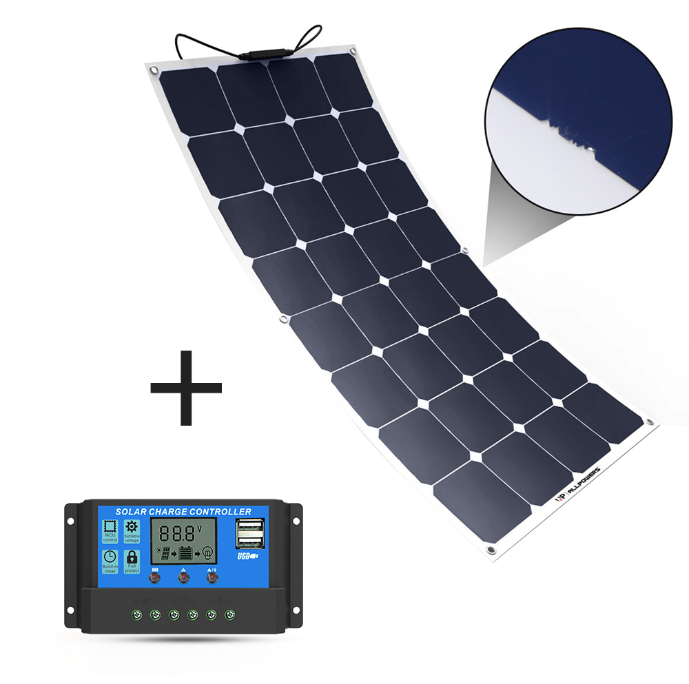 ALLPOWERS 100 W 18 v 12 v Solar Panel Ladegerät Wasser Shock Staub Beständig Solar Ladegerät mit Solar Controller für RV Boot Kabine Zelt