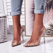 big size sandals high heels shoes woman Pumps summer sexy pointed toe clear for women 2019 luxury Dress party