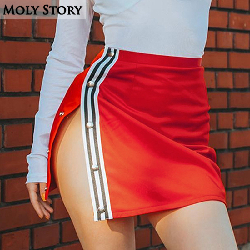 Fashion Slim Slit Sexy Mini Skirts Women Striped Red Skirts Angel Print Jupes Femme Ladies Pencil Skirts Clubwear
