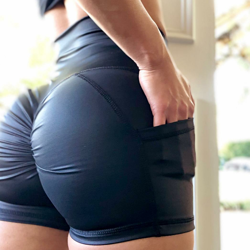 CHRLEISURE High Waist Pockets Shorts Women 2019 Summer Workout Push Up Shorts Shorts Women Short Femininoa
