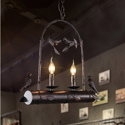 843024378 Iron Birds American Country Pendant Light E14*2 Hanging Lamp Fixtures For  Cafe Bar Living Home Lightings Lamparas Colgantes