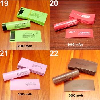 100 unids/lote 18650 batería de litio cubierta de batería de manga termorretráctil de piel de PVC 1