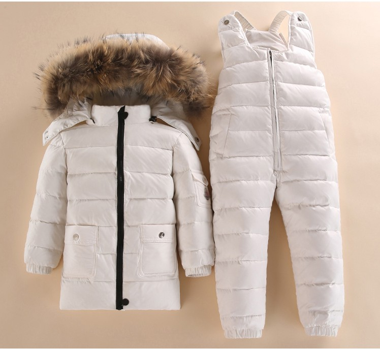 2018 Children  girl boy winter detachable fur hooded down coat Jacket+overalls baby boy girl ski Snowsuit clothes set outwear