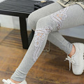 High Quality Spring Women's Lace Flower Printing Slim Legging Lady Casual Applique Thin Trousers & Leggings Ankle-length Pants