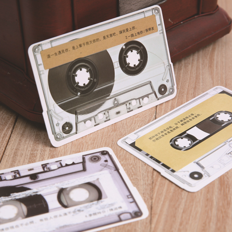 30 Pcs/lot Korean Stationery Retro Radio Tape Shape Special Greeting Card Postcards Message Gift Cards
