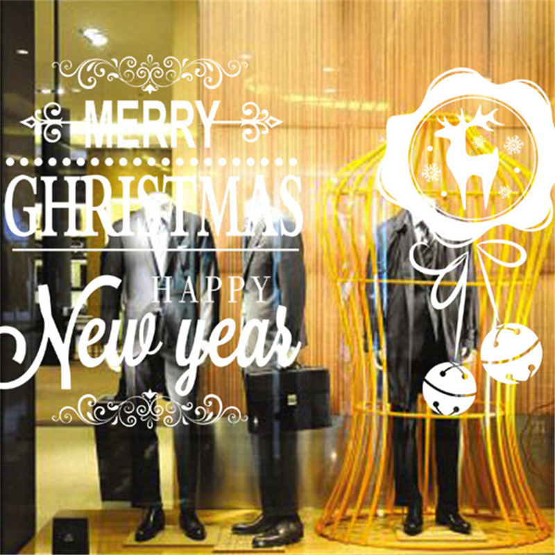 50x70cm 2019 Merry Christmas Decorations for Home New Year Shop Glass Window White Deers Bell Decorative Stickers Navidad Natal  (6)