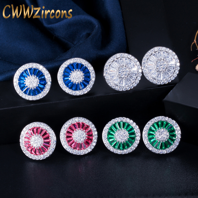 CWWZircons Noble Romantic Dark Blue Crystal Jewelry Luxury Round Cubic Zircon Wedding Stud Earrings for Women Party Gift CZ108