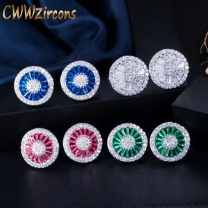 CWWZircons Noble Romantic Dark Blue Crystal Jewelry Luxury Round Cubic Zircon Wedding Stud Earrings for Women Party Gift CZ108