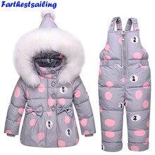 Chaqueta de plumón de pato para niños traje de esquí de invierno para Niña-30  grados ruso abajo abrigo + conjunto de mono conjun. ca0d9b3c6dcea