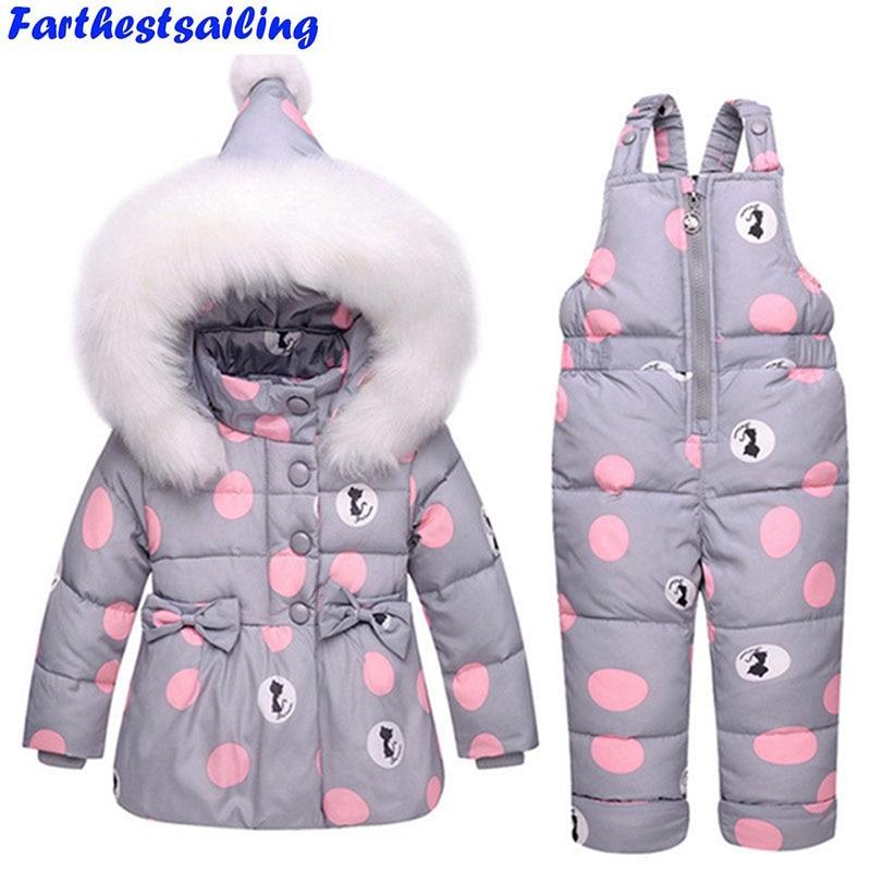 Children's Duck Down Jacket Suit Girl Winter Boy Ski Suit -30 Degree Russian Down Coat + Jumpsuit Set Kids Thicker Clothing Set