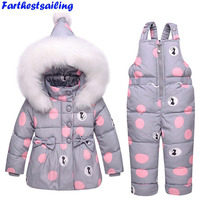 Children's Duck Down Jacket Suit Girl Winter Boy Ski Suit 30 Degree Russian Down Coat + Jumpsuit Set Kids Thicker Clothing Set
